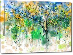 Дерево разноцветными кляксами