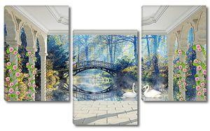 Вид на мостик с веранды в парке