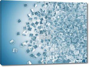 Кубики льда на синем фоне