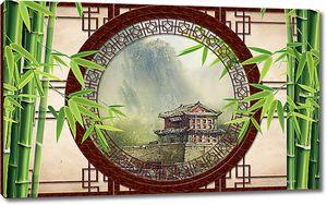 Пагода в круглой раме