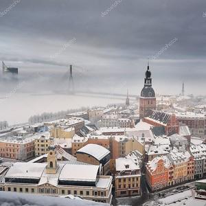 Ареала вид на Ригу в тумане, Латвия
