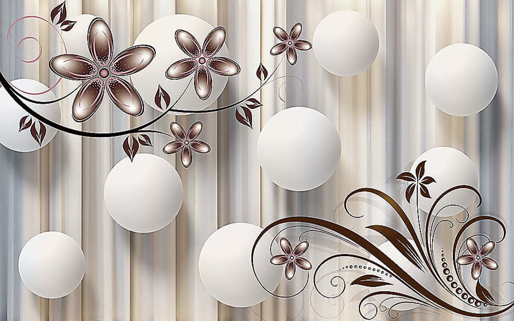 Фотообои «Белые шары с цветами в бежевых тонах», купить в интернет-магазине «Первое Ателье»™