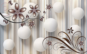 Белые шары с цветами в бежевых тонах