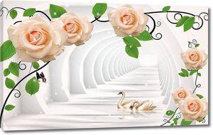 Круглый туннель, розы, пара лебедей в воде