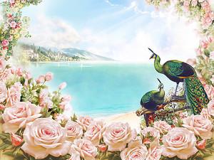 Рамка из розовых роз с видом на море