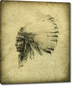 Нарисованный старый индеец