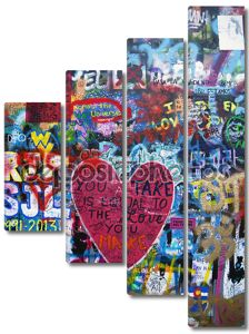Сердце граффити на стене - фон