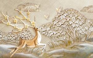 Олень с цветущими рогами, три голубя