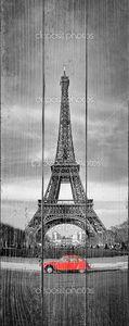 Эйфелева башня и ретро автомобиль