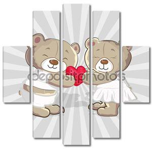 Милые медведи Векторный мультфильм
