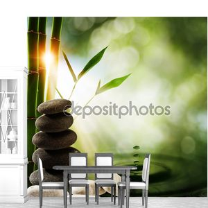 Восточные эко стола с бамбуком и воды всплеск