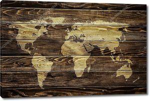 Карта мира на фоне древесины
