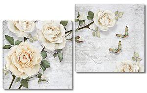 Ветка белых роз с бабочками
