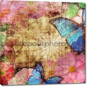 Старинный фон с бабочка и цветы