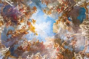 Роспись потолка Версальского дворца около Парижа, Франция