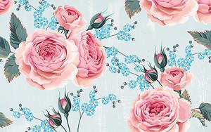 Розы с голубыми цветочками