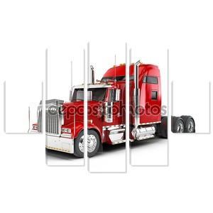 Красный Американский грузовик, изолированные на белом фоне