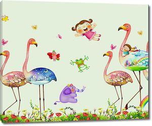 Разноцветные фламинго