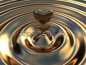 Абстрактный фон как жидкое золото волны с сердцем, как dro