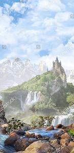 Камни и замок на заднем фоне