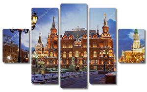 Исторический музей на ночь Москва Россия