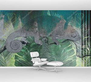 Тропические листья и растения с нарисованным хамелеоном
