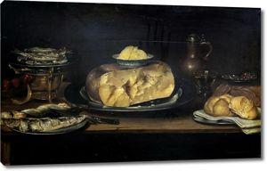 Александр Адриенссен. Натюрморт с сыром, колбасой, рыбой и хлебом