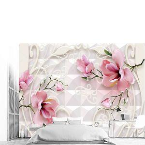 Плитка, белые и розовые цветы на зеленых ветвях