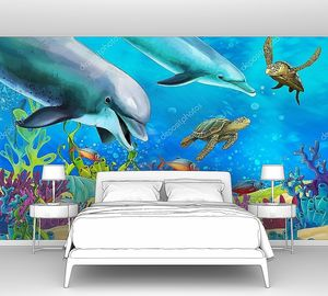 Коралловый риф с дельфинами