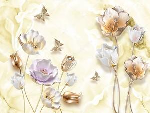 Позолоченные тюльпаны , позолоченные бабочки