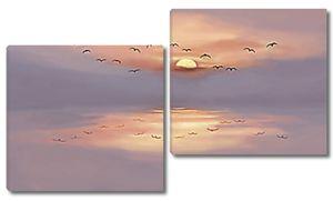 Птицы на фоне заката