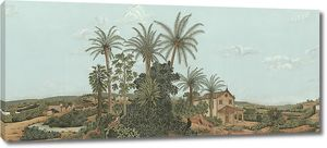 Пейзаж с домом под пальмами