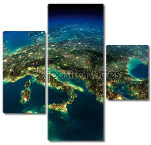 Земля ночью, кусочек Европы - Италии и Греции