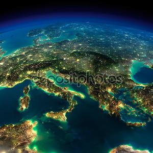 Земля ночью. кусочек Европы - Италии и Греции
