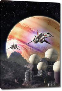 космические корабли и колонии Луны Юпитера