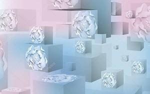 3D кубический фон, головки цветов