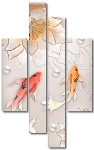 Рыбки с бусинами и лотосом
