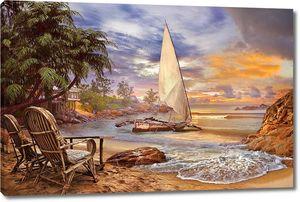 Лодка на берегу на закате