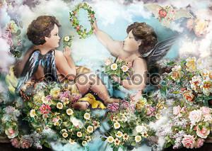 ангелы с цветами