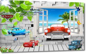 Машинки из окна в кирпичной стене