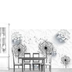Цветы из белой бумаги,  контуры одуванчиков