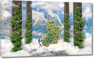 Небесный сад с павлинами