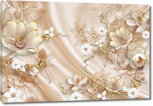 Объемные цветы с золотыми лепестками