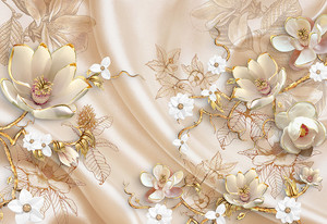 Объемные цветы на ткани