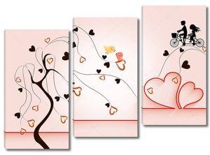 Романтическая иллюстрация, дерево с сердечками, мальчик и девочка на велосипеде