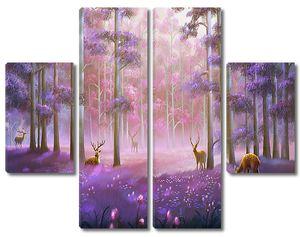 Лес фиолетовым светом