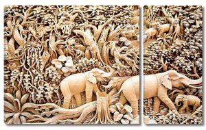 Резьба. Слоны в джунглях