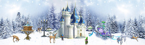 Сказочный замок в зимнем лесу