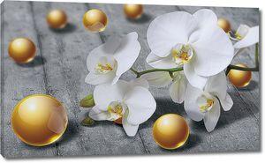 Орхидея с золотыми бусинами