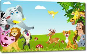 Полянка с животными в джунглях